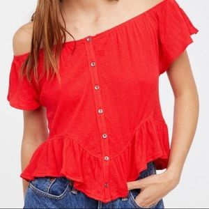 Red Knit Free People Off the Shoulder Pheasant Top